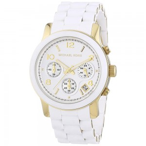 Michael Kors Women's Two Tone Chronograph Quartz Stainless Steel White Dial Watch