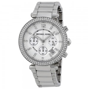 Michael Kors Women's Parker Silver-Tone Analogue Quartz Watch - Silver Tone