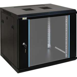 CNS - Connect 9U Cabinet, 600x450, Detachable,glass door, with plastic multiplugs, fan, brush panel, cage nuts