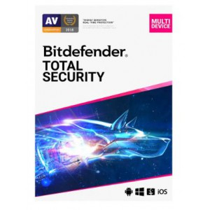 Bitdefender Total Security 2019 - Complete Anti-malware Protection, Windows, macOS, Android and iOS - 5 Device 1 Year (ESD)