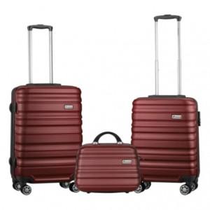Travelwize Rio ABS 3Pc Luggage Set - Grey/Burgundy
