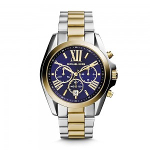 Michael Kors Men's Bradshaw Chronograph Stainless Steel Quartz Watch - Two Tone Blue