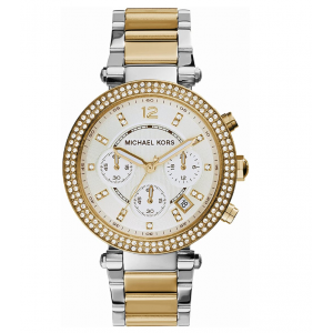 Michael Kors Women's Parker Chronograph Two Tone Stainless Steel Watch