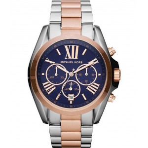 Michael Kors Women's Bradshaw Stainless Steel Chronograph - Blue Dial Silver Gold Tone Watch