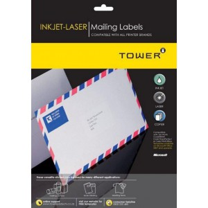 Tower Inkjet-Laser White Mailing Labels (Box of 100 Sheets) - W115
