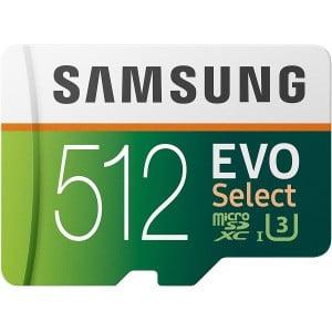 SAMSUNG EVO Select 512GB MicroSDXC UHS-I U3 100MB/s Full HD and 4K UHD Memory Card with Adapter (MB-ME512HA)