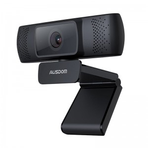 Ausdom AF640 1080p FHD Wide Angle Desktop Webcam - Black