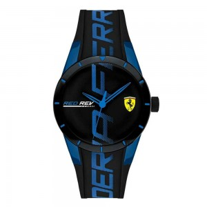 Ferrari Red Rev Black With Blue Writing Watch