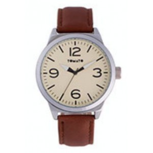 Tomato Gents Beige Dial and Brown Strap Watch