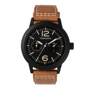 Tomato Gents Black Dial & Case 48mm Tan Synthetic Strap S19 Watch