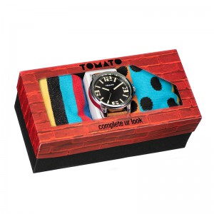 Tomato Gents Dark Brown Dial Ips Case,Tan Strap With 2 X Socks Watch