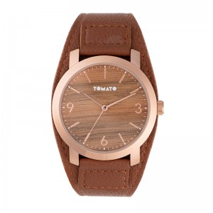 Tomato Gents Wood Dial 45mm Rose Case Watch