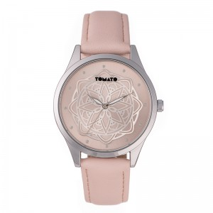 Tomato Ladies Pink/Silver Flower Dial 38mm Silver  Watch
