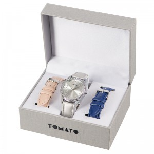Tomato Ladies Silvr Stone Dial Silvr 37mm Case (Silver,Nude,Navy)
