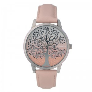 Tomato Ladies Pink Tree Detail Dial Silver 46mm Case Watch