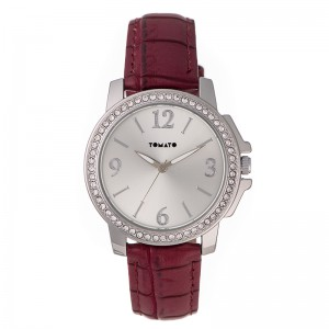 Tomato Ladies Silver Sunray Dial Silver+Stone 38mm Watch