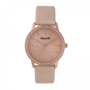 Tomato Ladies Beige Dial Rosegold+Stones 36mm Case Watch