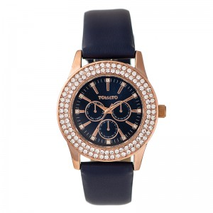 Tomato Ladies Navy Blue Dial Rosegold Case 38mm Watch
