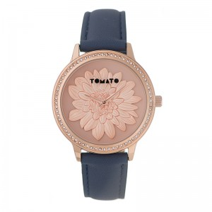 Tomato Ladies Pink 3D Flower Dial,RG Stone39mm Case Watch