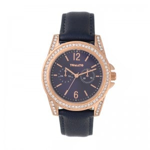 Tomato Ladies Navy Blue Dial, Gold Case, 40mm Watch