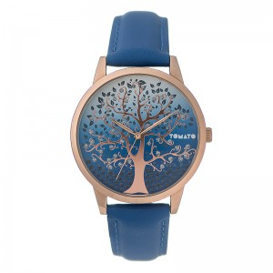Tomato Ladies Blue Tree Detail Dial,Rosegold 46mm Case Watch