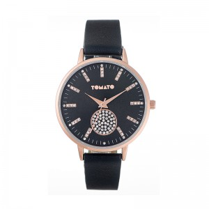 Tomato Ladies Black Dial Watch With Stones & 40mm Rose Gold Case