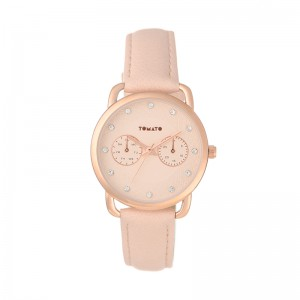 Tomato Ladies Rose Gold Dial Watch With Stones & 35mm Rose Gold Case