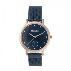 Tomato Ladies Blue Dial Rose Gold Case, 36mm, Blue Mesh Magnet Bracelet