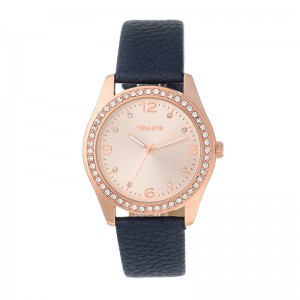 Tomato Ladies Mop Look Dial 39mm Rose Gold Case With Blue Strap