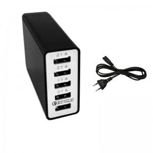 5 Port QC3 Universal Multi USB Charger 8A USB Hub (40W) - Black (1x QC3.0 port)
