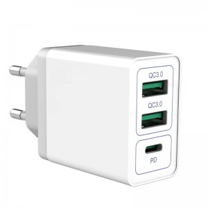 USB Type-C PD Power Delivery and Quick Charge QC3.0 30W AC Wall Charger Adapter  - White