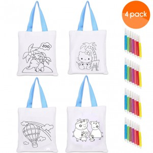 Kids Colouring Bag with a Set of Colouring Pencils - 4 Pack
