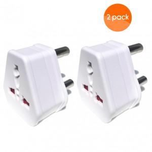 European USA UK Multi Plug to South African Power Converter - White - 2 pack