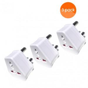 European USA UK Multi Plug to South African Power Converter - White - 3 pack
