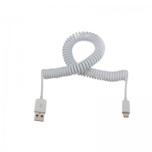 Micro USB coiled cable - 2.1A output (1M)