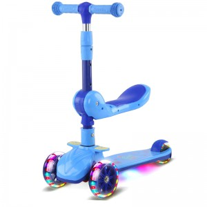 Kids Scooter Foldable and Adjustable with Seat and Flashing Wheel Lights