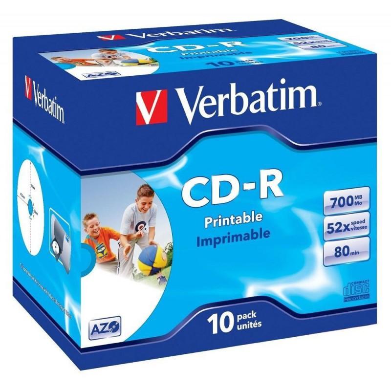 VERBATIM - 700MB - CD-R (52X) - WIDE PRINTABLE JEWEL CASE - (BOX OF 10)