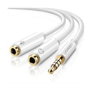 Ugreen 3.5mm Audio to Mic/Aud Splitter Adapter - White