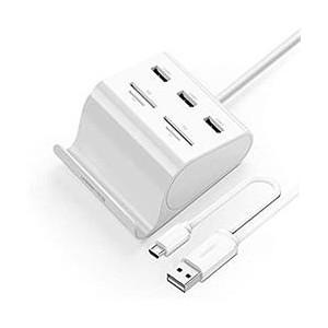 Ugreen USB3.0 3-Port Hub W/ Card Reader - White