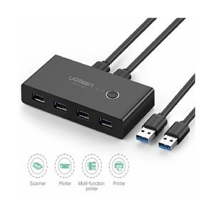 Ugreen USB3.0 2-In 4-Out Sharing Switch Box - Black