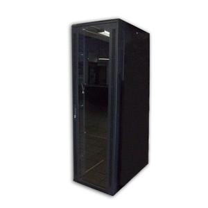 "Acconet 27U 19"" Assembled Rack, 800mm Deep, Black,Clear Glass Door with Lock, 4 220V Fans, 2 Shelves"