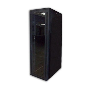 "Acconet 42U 19"" Assembled Rack, 1000mm Deep, Black, Clear Glass Door with Lock, 4 220V Fans, 2Shelve"
