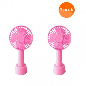 Mini Handheld Fan with Base - 800mAh USB Rechargeable Battery - Pink (2 Pack)