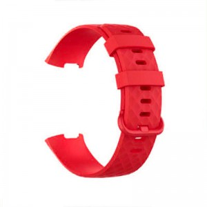 Fitbit Charge 3 Silicone Watch Strap with Plastic Buckle (Large) -Red