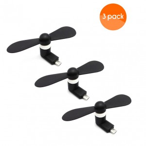 Portable Micro USB Fan (works with most Smart Phones with Micro USB) - Black (3 Pack)
