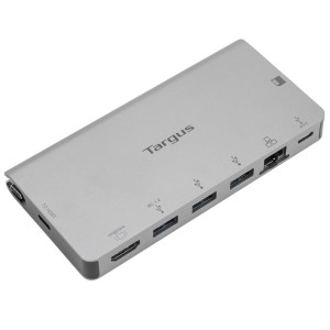 Targus USB-C DP Alt Mode Single Video 4K HDMI Docking Station with Card Reader, 100W PD Pass-Thru, and Removable USB-C Cable - Silver