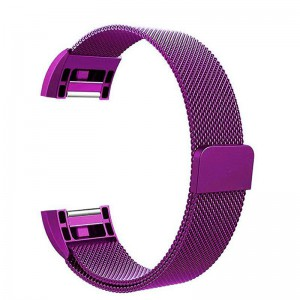 Fitbit Charge 2 Stainless Steel Band - Adjustable Replacement Strap with Magnetic Lock - Purple