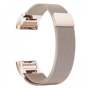 Fitbit Charge 2 Stainless Steel Band - Adjustable Replacement Strap with Magnetic Lock - Metallic Gold