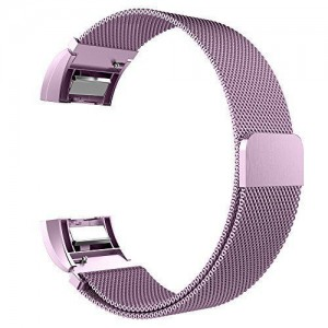 Fitbit Charge 2 Stainless Steel Band - Adjustable Replacement Strap with Magnetic Lock - Lilac