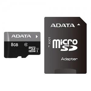ADATA Premier 8GB microSDHC Flash Card with Adapter